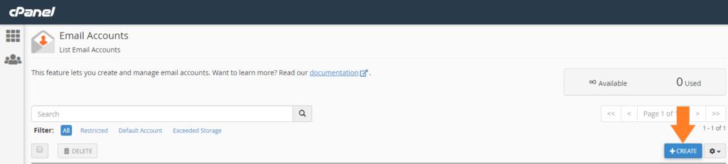 Panel de creación de cuenta de correo cPanel