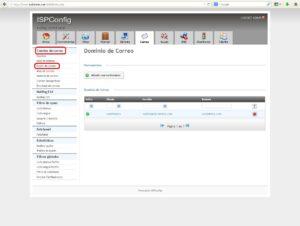 Interfaz correo buzón ISPConfig