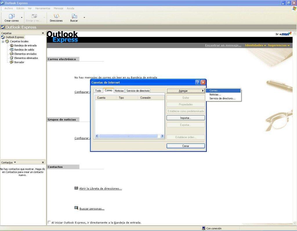 Como agregar cuenta de correo en Outlook