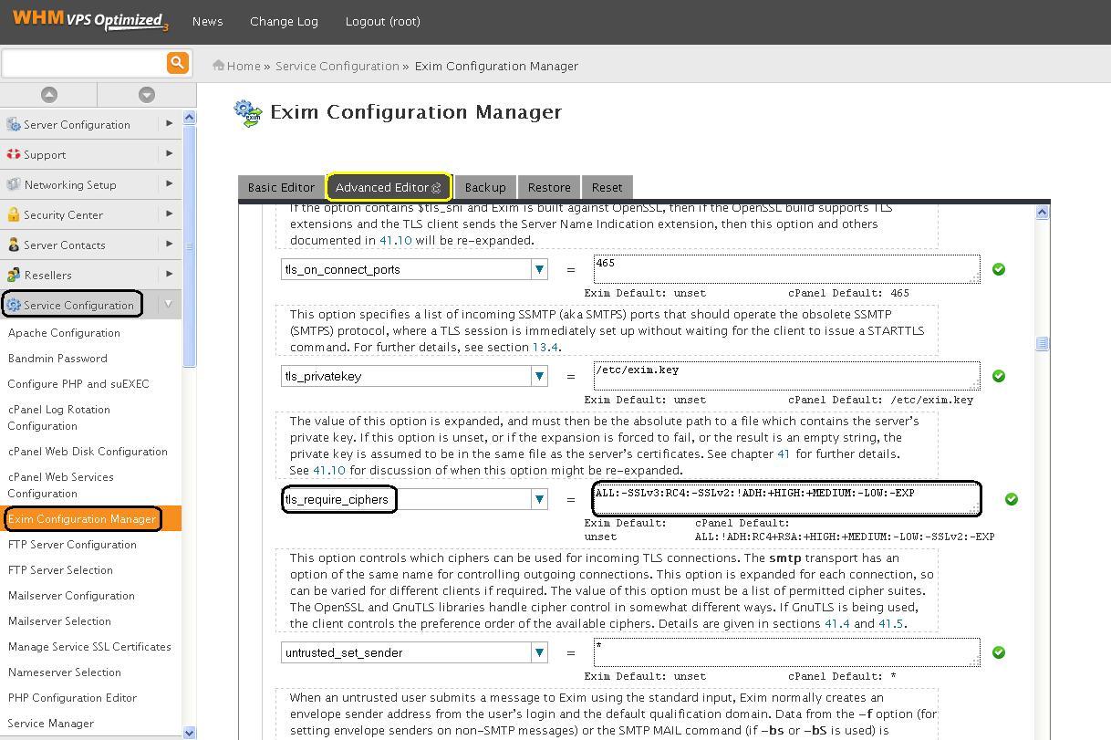 Solucionar vulnerabilidad SSL v3.0 - Exim