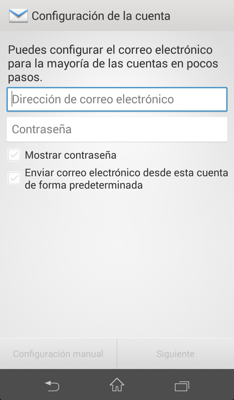 Como configurar correo exchange en Android Paso 1
