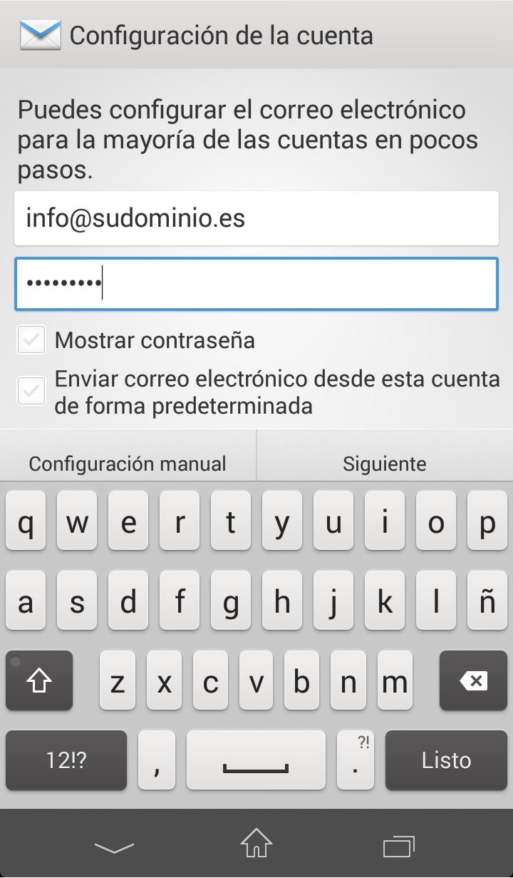 Como configurar correo exchange en Android Paso 2