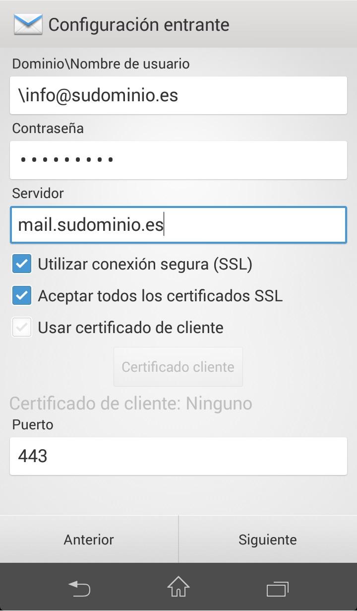 Como configurar correo exchange en Android Paso 4