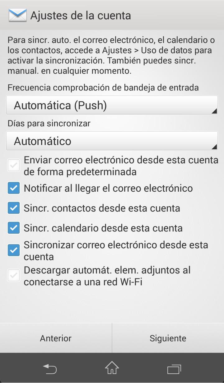 Como configurar correo exchange en Android Paso 5