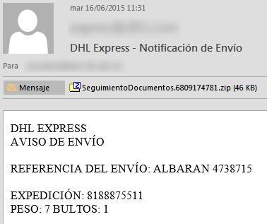 Ejemplo de correo recibido con virus - DHL Express