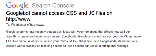 Googlebot cannot access CSS and JS files