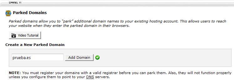 Añadir alias de dominio en cPanel