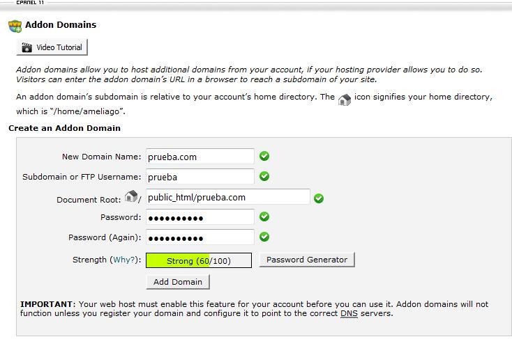 Añadir dominios adicionales en cPanel