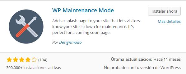 Modo mantenimiento en WordPress