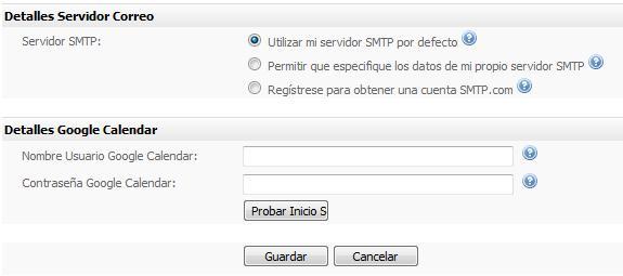 Configuración usuario Email Marketing