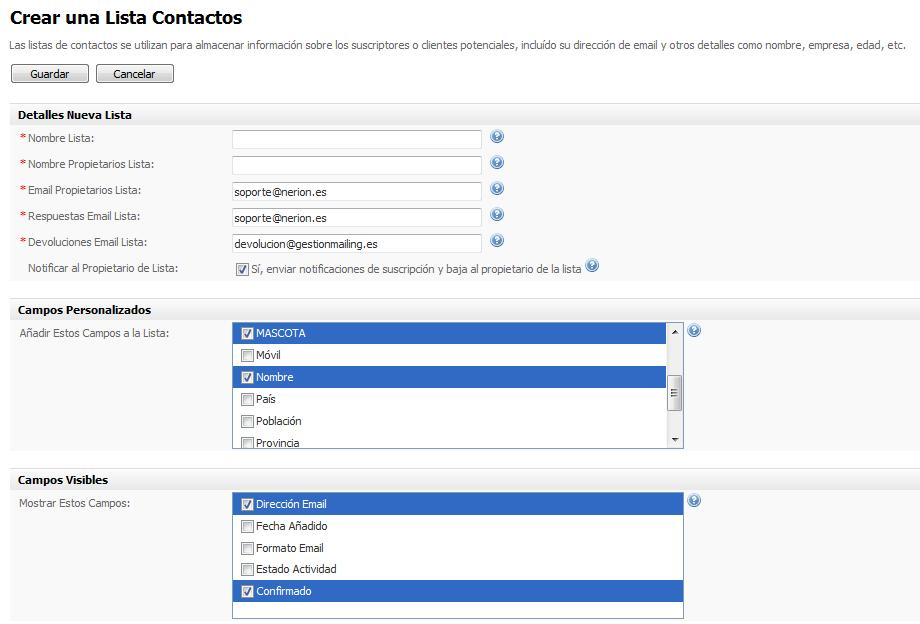 Crear lista de contactos Email Marketing