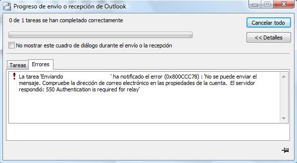 Solución Error Outlook 0x800CCC78