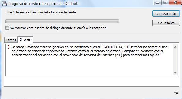 Solución Error Outlook 0x800CCC1A