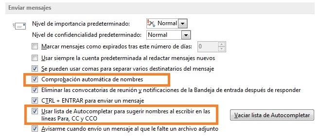 Outlook 2013: No Autocompleta direcciones de email