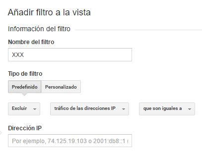 Excluir trafico propio en google analytics