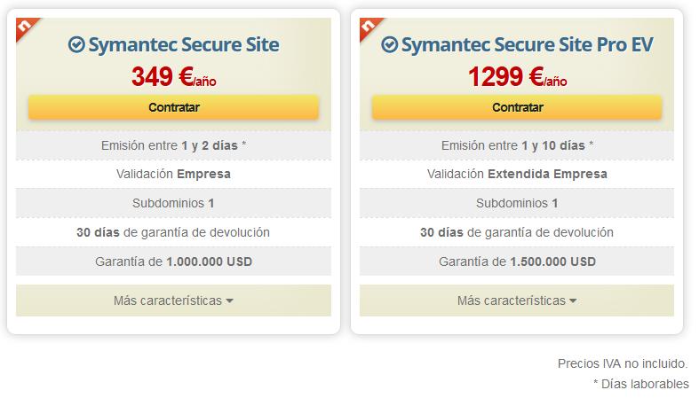 Tabla comparativa de los servicios que ofrece la autoridad Symantec