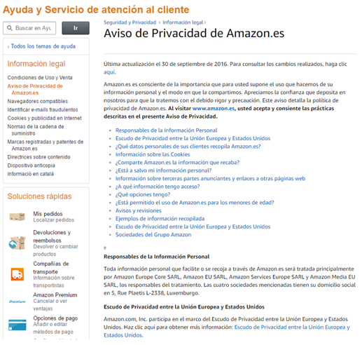 Documento sobre política de privacidad de amazon