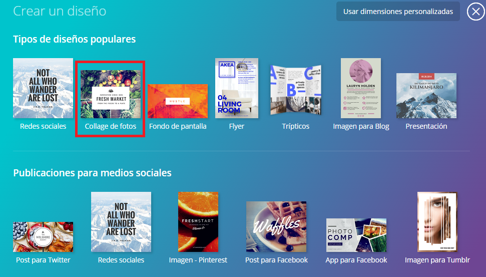 Como crear un collage de fotos en Canva