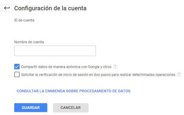 configuración cuenta/ Compartir datos con Google