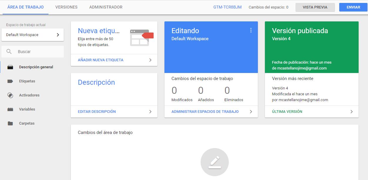 Área de trabajo de Google Tag Manager
