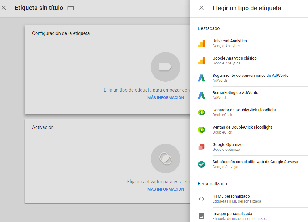 Tipos de etiquetas en Google Tag Manager