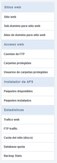 panel de control hosting accesos