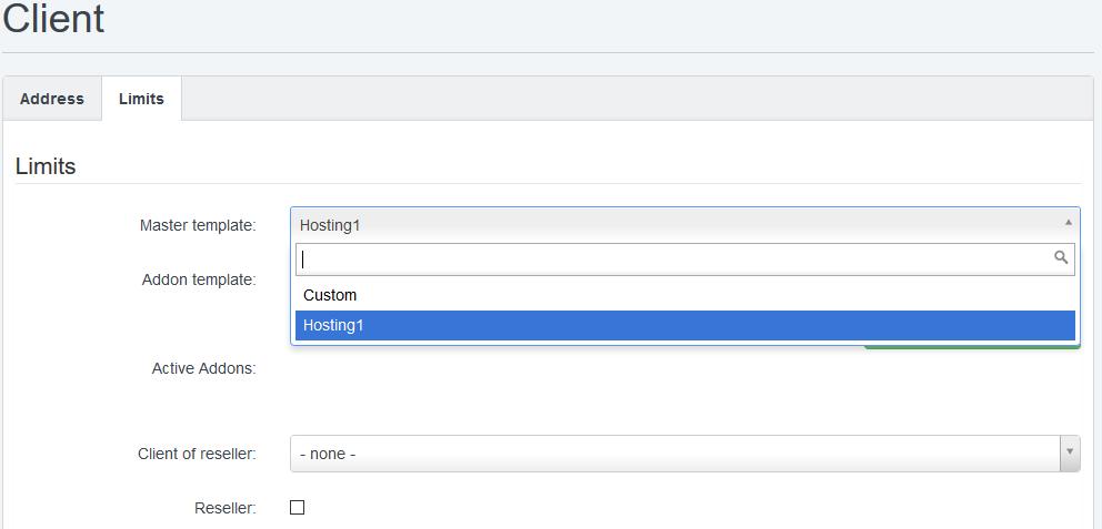 limites en interfaz cliente panel control