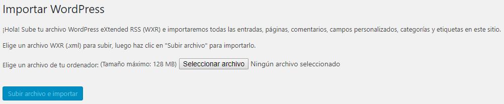 importar archivos subidos