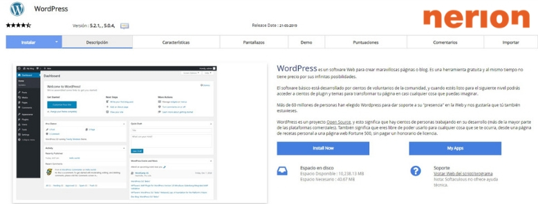 Instalar WordPress con Softaculous