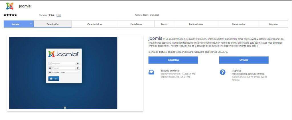 Instalación Joomla Softaculous