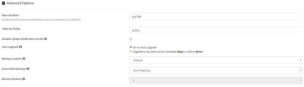 Configuración avanzada Joomla desde Softaculous