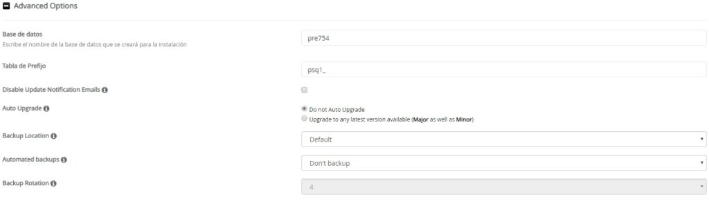 Delimitar opciones avanzadas instalación PrestaShop con softaculous