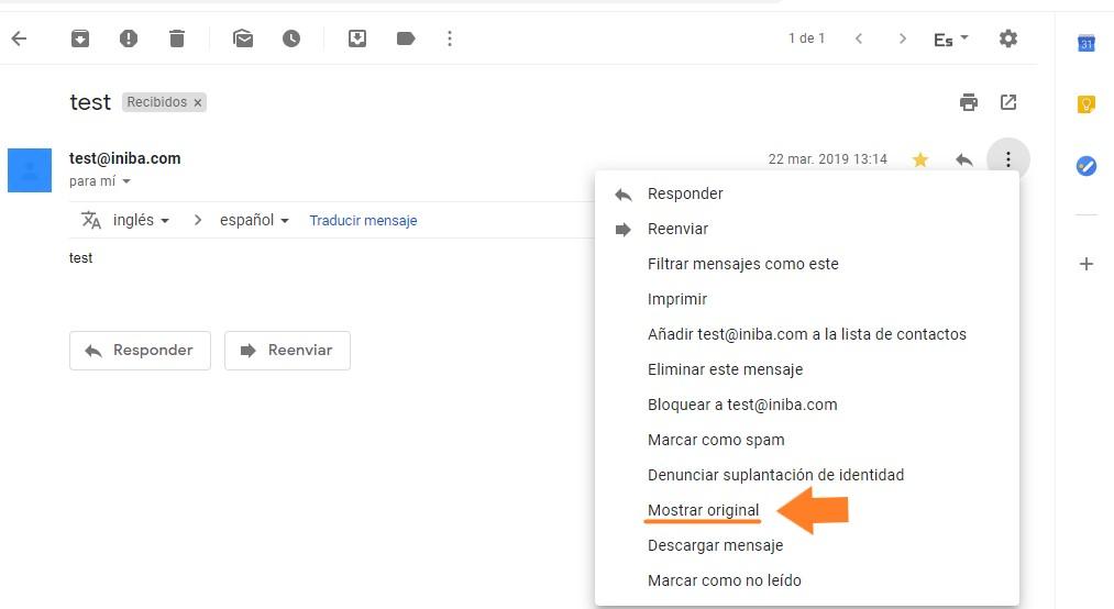Cabecera correo Gmail