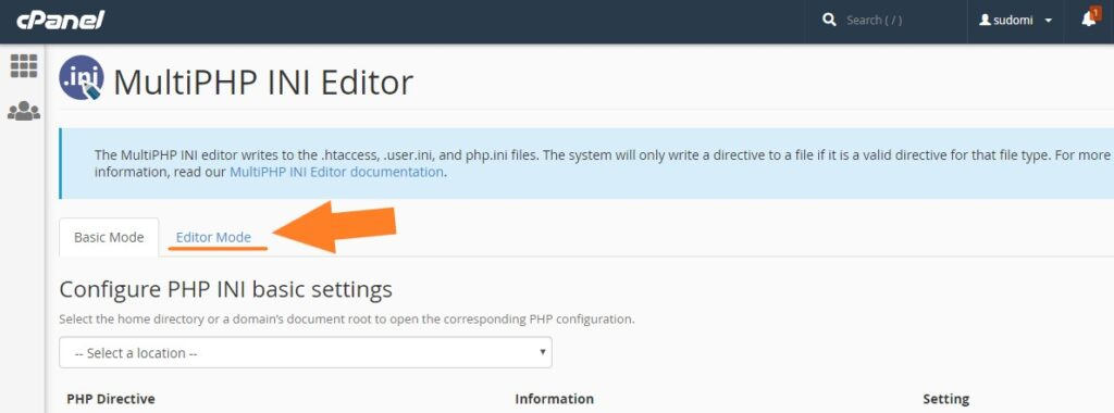 Editar parámetros de PHP de manera manual