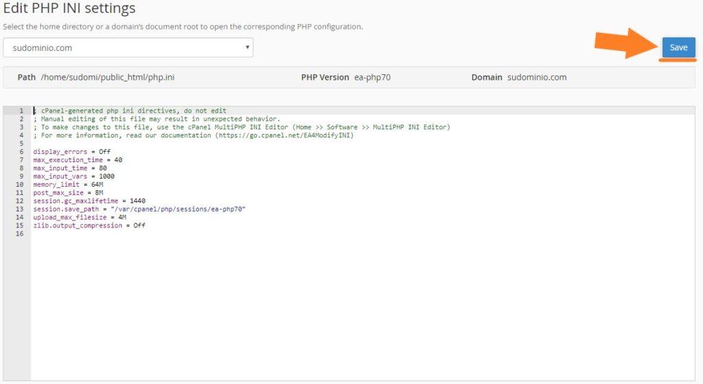 Realizar modificaciones manuales PHP en cPanel