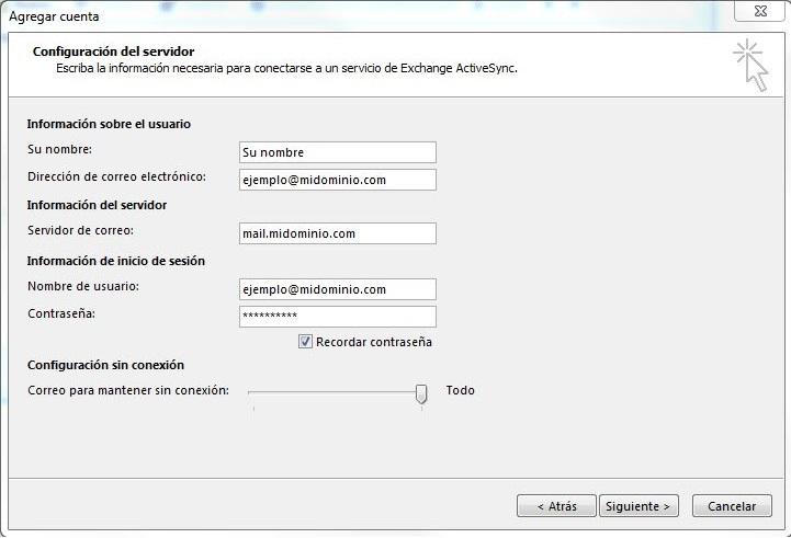 agregar cuenta Exchange ActiveSync
