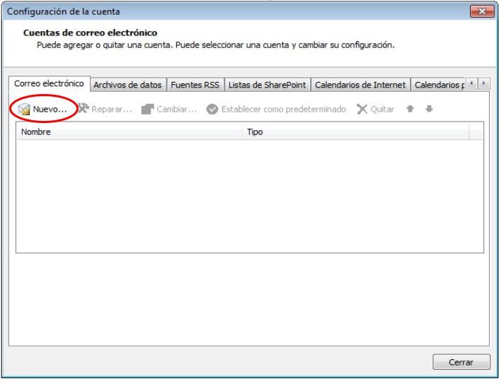 añadir nueva cuenta de correo electrónico