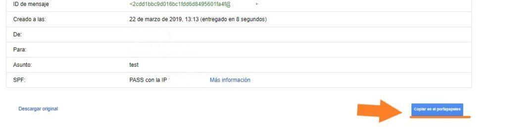 Obtener cabecera correo en gmail