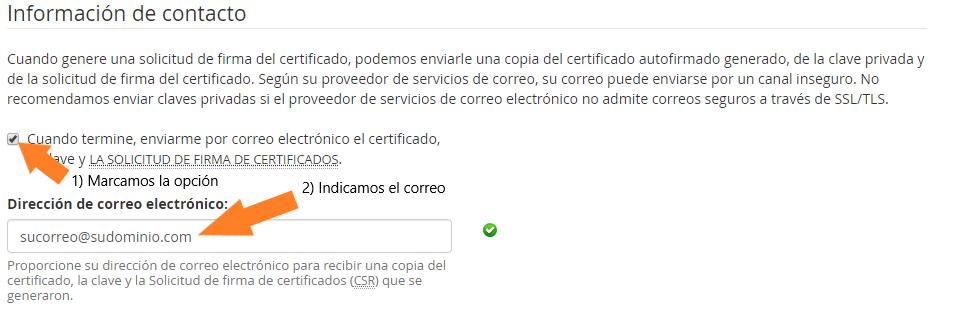 generar información de contacto SSL cpanel