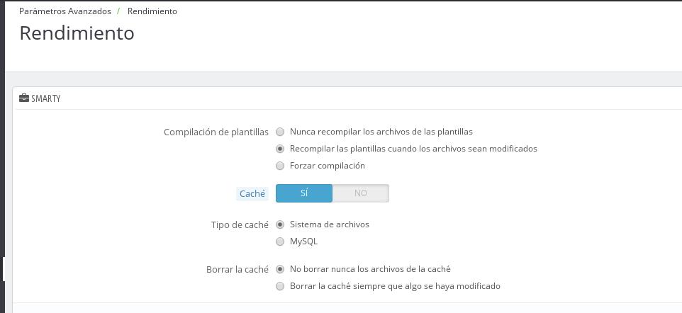 configuración de la cache de prestashop